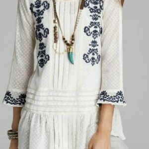Free People Swiss Dot Lace Embroidery Tunic Top S
